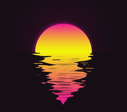 Retro vintage styled bright sunset with reflection on the water sea or ocean vector illustration.