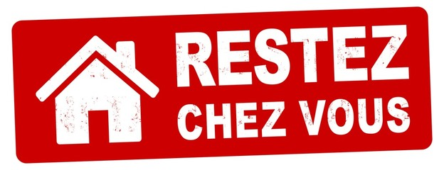 nlsb1436 NewLongStampBanner nlsb - bannière de maison - étiquette français - panneau avec l'inscription du timbre: restez chez vous - prévention des coronavirus - 2comma6to1 xxl f9336 Fotobehang