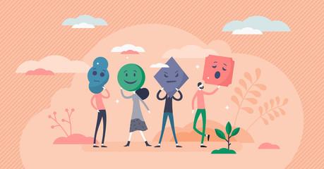 Obraz Emotion types vector illustration. Various smileys flat tiny persons concept - fototapety do salonu