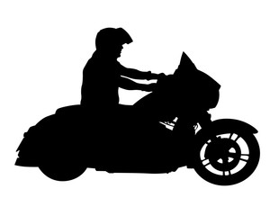 Fototapete - Man in protective clothing rides a retro bike. Isolated silhouette on a white background