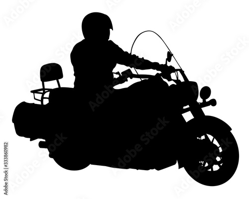 Wall mural Man in protective clothing rides a retro bike. Isolated silhouette on a white background