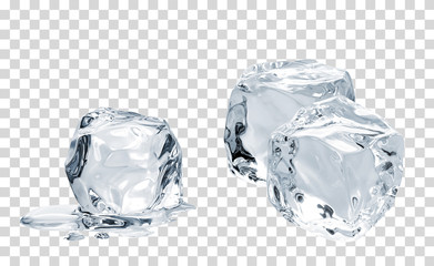 Melting crystal clear ice cubes on isolated background including clipping path Wall mural