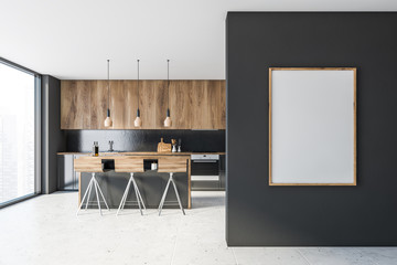 Gray and wooden kitchen with bar and poster