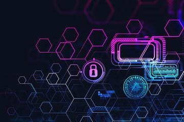 Fotobehang - Glowing futuristic cyber security interface