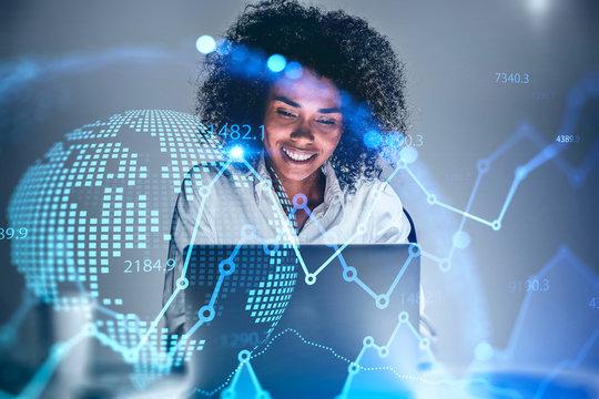 Smiling African woman trader, digital graph