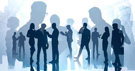 Corporate meeting concept, diverse people