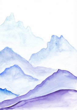 Watercolor painting of vibrant blue asian mountains. Hand drawn oriental style peaceful landscape illustration with layers of rocks. Concept for decoration, relaxation, restore meditation background.