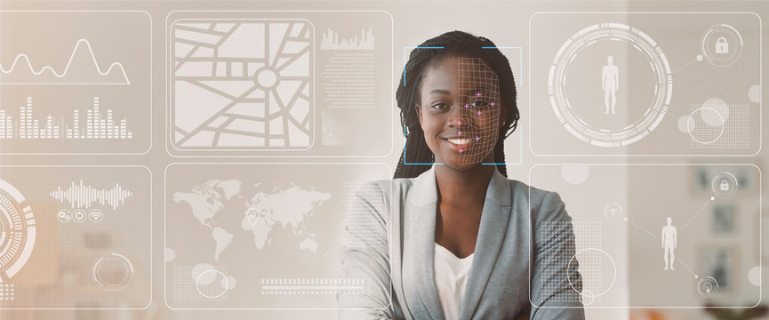 Data of African American businesswoman, double exposure of office with info on virtual display, blank space. Panorama