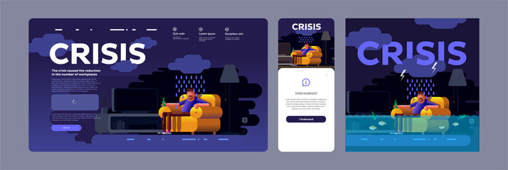 Vector illustration. Economic crisis and unemployment in the world. A man sitting at home in crisis. Website template, mobile screen, cover.