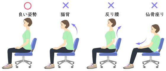 正しい姿勢で椅子に座る女性 比較イラスト 02