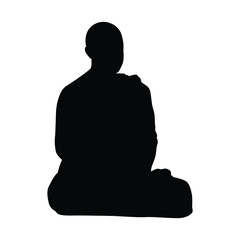 Buddhist monk silhouette vector on white
