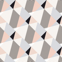 Abstract triangle geometry, stripes seamless pattern