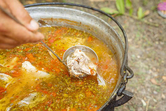 Traditional fish soup (Carp soup) localy made by villagers in the Danube Delta, Romania
