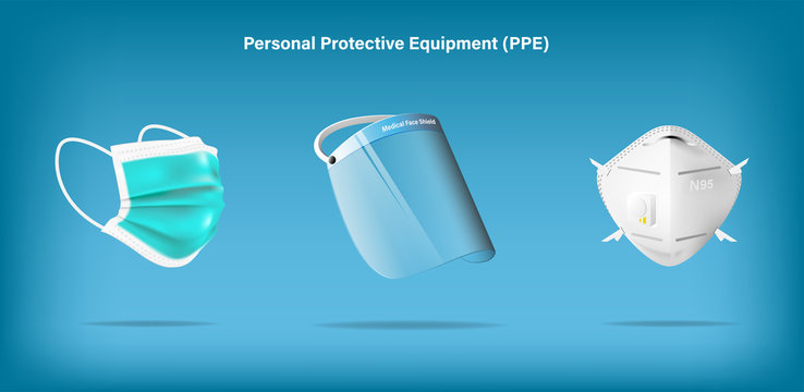 Isolated medical personal protective equipment on background. Pandemic covid-19 virus and protection coronavirus concept. Vector illustration design.