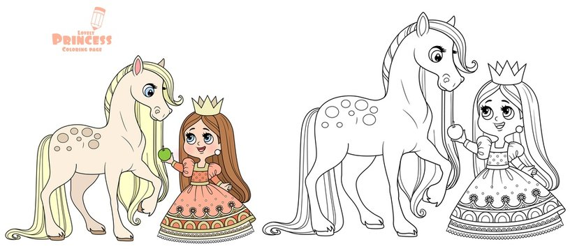 Cute cartoon princess feed a horse an apple outlined and color for coloring book