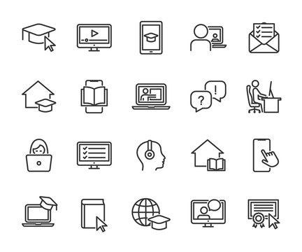 Vector set of online education line icons. Contains icons remote learning, video lesson, online course, homework, online test, webinar, audio course and more. Pixel perfect.