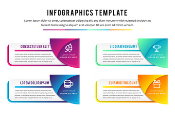 combination quarter circle concepts with icons. can use for infographics with purple, blue, green, white and orange gradient. Four step of loop business report or plan. modern education template. Fotomurales