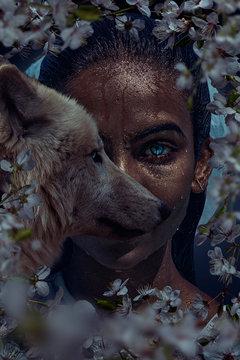 Beautiful woman with wolf portrait