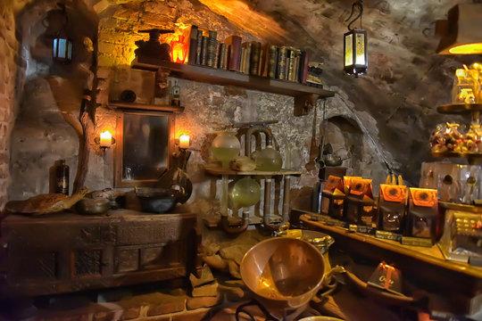 "Latvia, Riga 02,01,2016 Cafe in the medieval style ""Black Magic"""