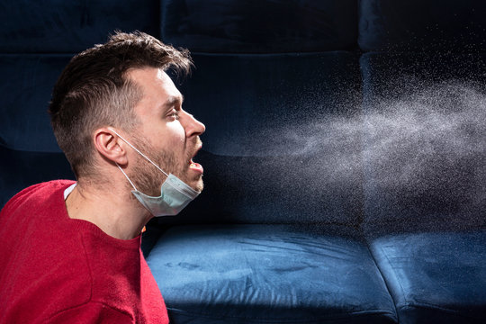 man is coughing