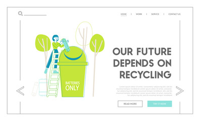 Recycle E-waste Rubbish Landing Page Template. Woman on Ladder Put Huge Battery Garbage into Special Litter Bin for Sorting Waste and Segregation, Environment Protection. Linear Vector Illustration
