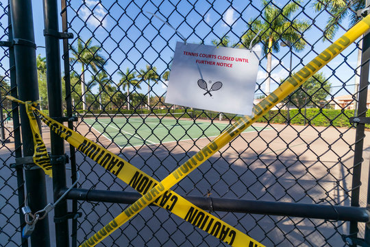Tennis court Closed down due to COVID-19 Pandemic encouraging social distancing and self-quarantine.