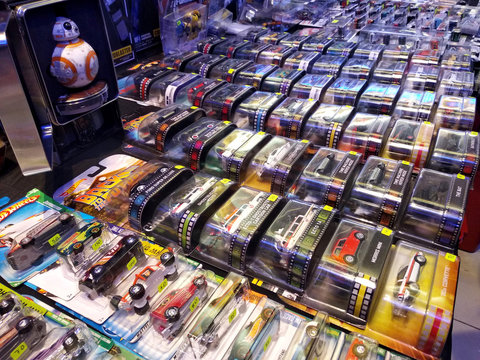 KUALA LUMPUR, MALAYSIA -MARCH 01, 2020: Selected focused on miniature toys car Hot Wheel. Exhibited by the collector to the public for sale.