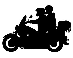 Wall Mural - Man in protective clothing rides a retro bike. Isolated silhouette on a white background