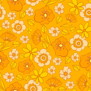 seamless pattern with bright flowers in the style of the 70s