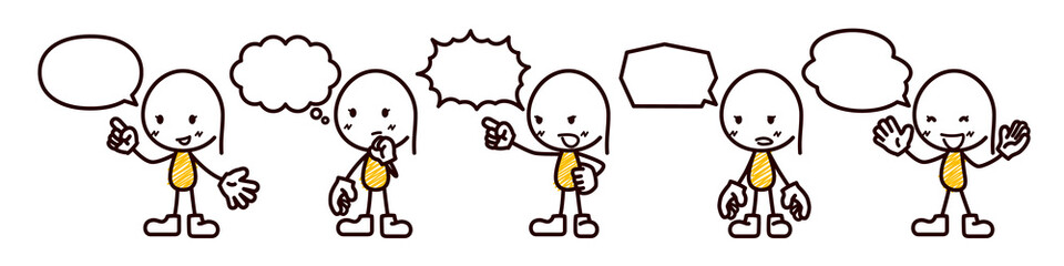 会話する女性のイラスト/棒人間