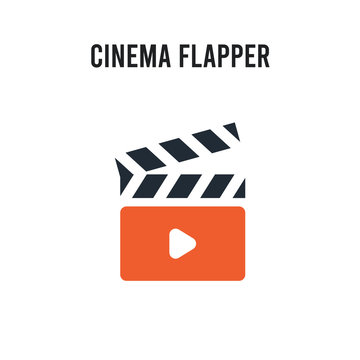 cinema flapper vector icon on white background. Red and black colored cinema flapper icon. Simple element illustration sign symbol EPS