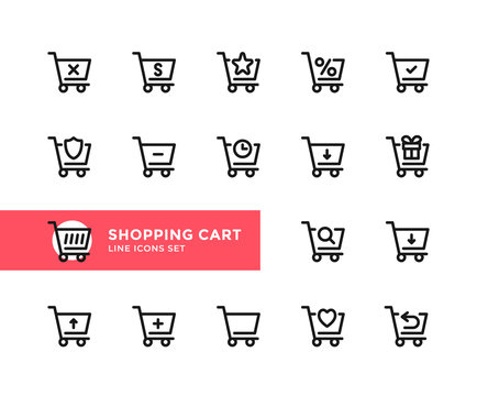 Shopping cart vector line icons. Simple set of outline symbols, graphic design elements. Pixel Perfect