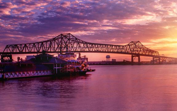 Horace Wilkinson Bridge at Baton Rouge under sunset