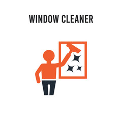 Window cleaner vector icon on white background. Red and black colored Window cleaner icon. Simple element illustration sign symbol EPS