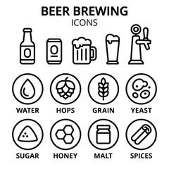 Beer brewing icon set