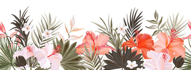 Autocollant pour porte Artificiel Hibiscus botanic seamless horisontal border banner, exotic flowers and leaves, vector hand drawn background. Floral realistic pattern, summer arrangements with tropical leaf nature..