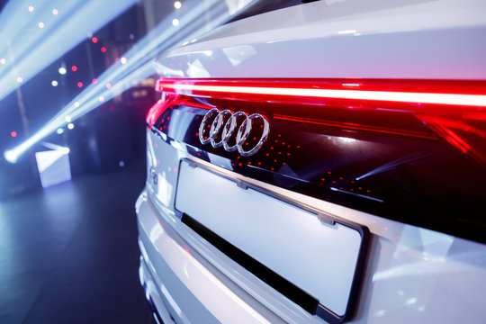 Warsaw, Poland - 30.01.2019: AUDI Q8 real red lights.
