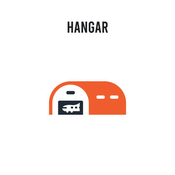 Hangar vector icon on white background. Red and black colored Hangar icon. Simple element illustration sign symbol EPS