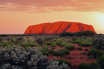 Uluru rock at sunset, Red Center Outback, Northern Territory, Australia. Approved for commercial use Fotobehang