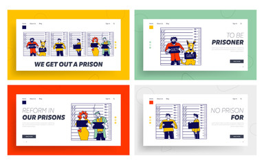 Characters Criminal Mugshot Landing Page Template Set. Identification Photo Front, Side View on Measuring Scale Backdrop in Police Station. Arrested People, Dog with Board. Linear Vector Illustration