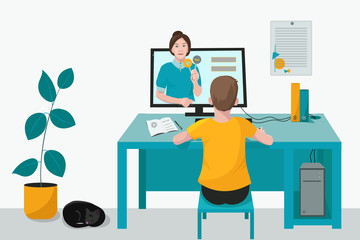 Child, student listens to the lesson of the teacher, is distance learning online. Room with computer, cat and boy taking tests. Vector illustration. Concept of home learning online and freelance.