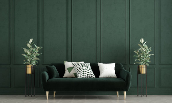 Modern loft living room interior design and green pattern wall background