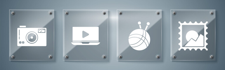 Set Picture landscape, Yarn ball with knitting needles, Online play video and Photo camera. Square glass panels. Vector