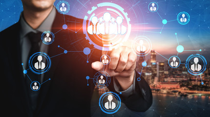 People network and global communication concept. Business people with modern graphic interface of community linking many people around world by social media platform to connect international business.
