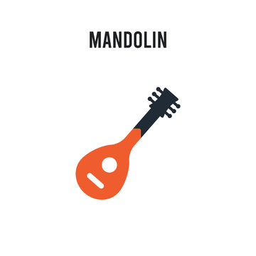 Mandolin vector icon on white background. Red and black colored Mandolin icon. Simple element illustration sign symbol EPS