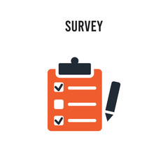 Survey vector icon on white background. Red and black colored Survey icon. Simple element illustration sign symbol EPS