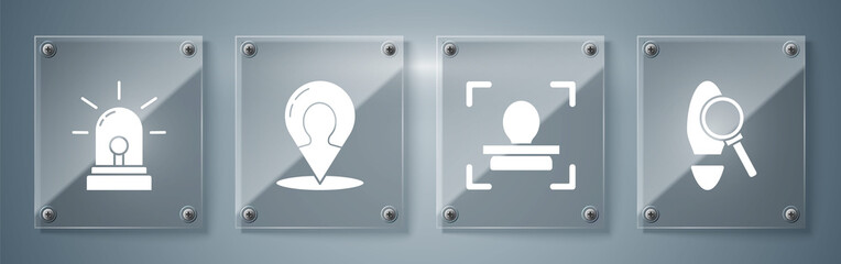 Set Magnifying glass with footsteps, Face recognition, Map marker with a silhouette of a person and Flasher siren. Square glass panels. Vector