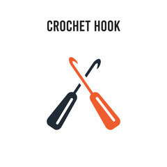 crochet hook vector icon on white background. Red and black colored crochet hook icon. Simple element illustration sign symbol EPS