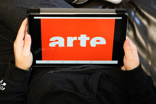 arte sign logo on screen tablet  French german media Group holding company
