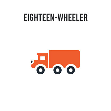 eighteen-wheeler vector icon on white background. Red and black colored eighteen-wheeler icon. Simple element illustration sign symbol EPS